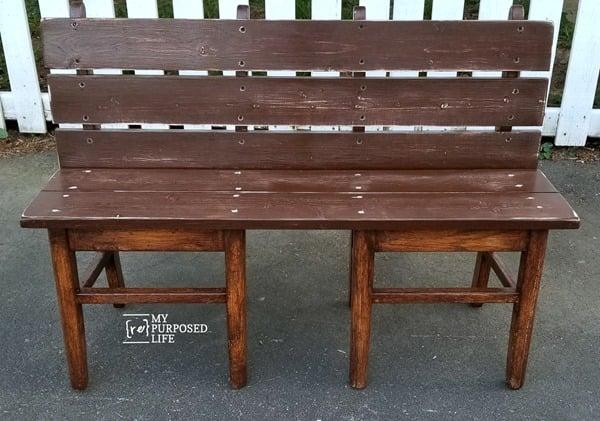 small bench made from chairs MyRepurposedLife