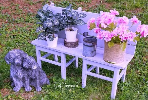 small garden bench with repurposed chairs MyRepurposedLife