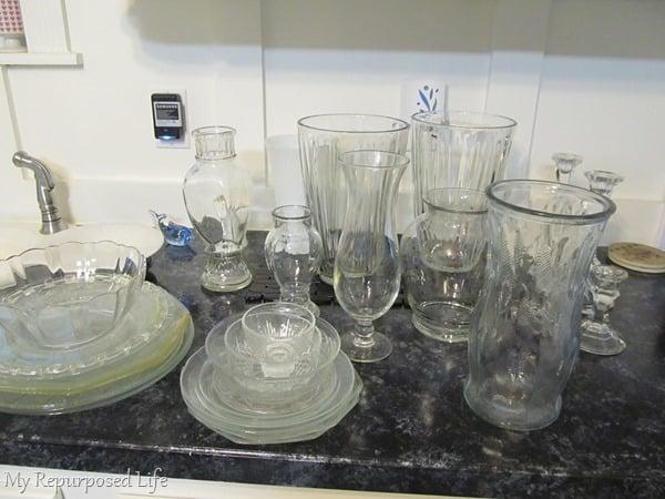 sort repurposed glassware