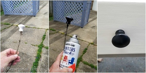 spray paint a cabinet knob