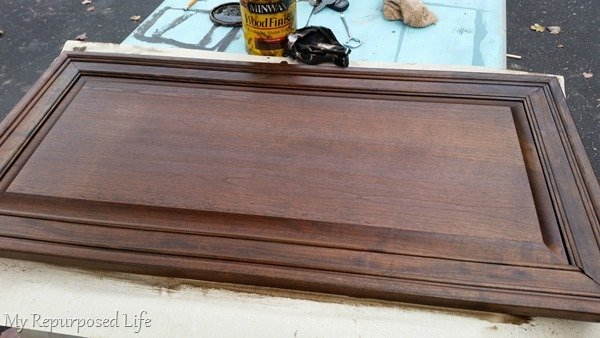 stained cabinet top