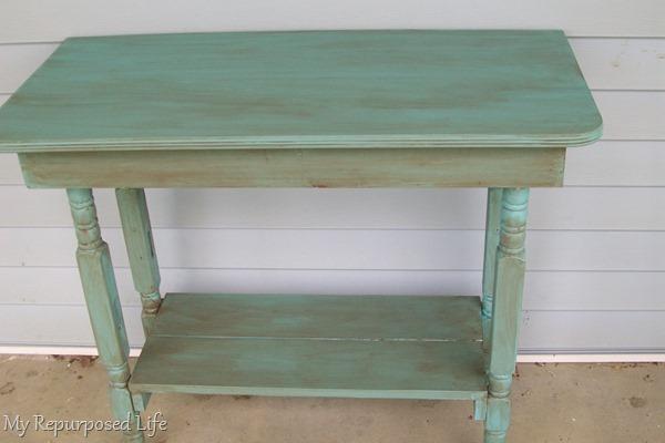 repurposed crib legs table