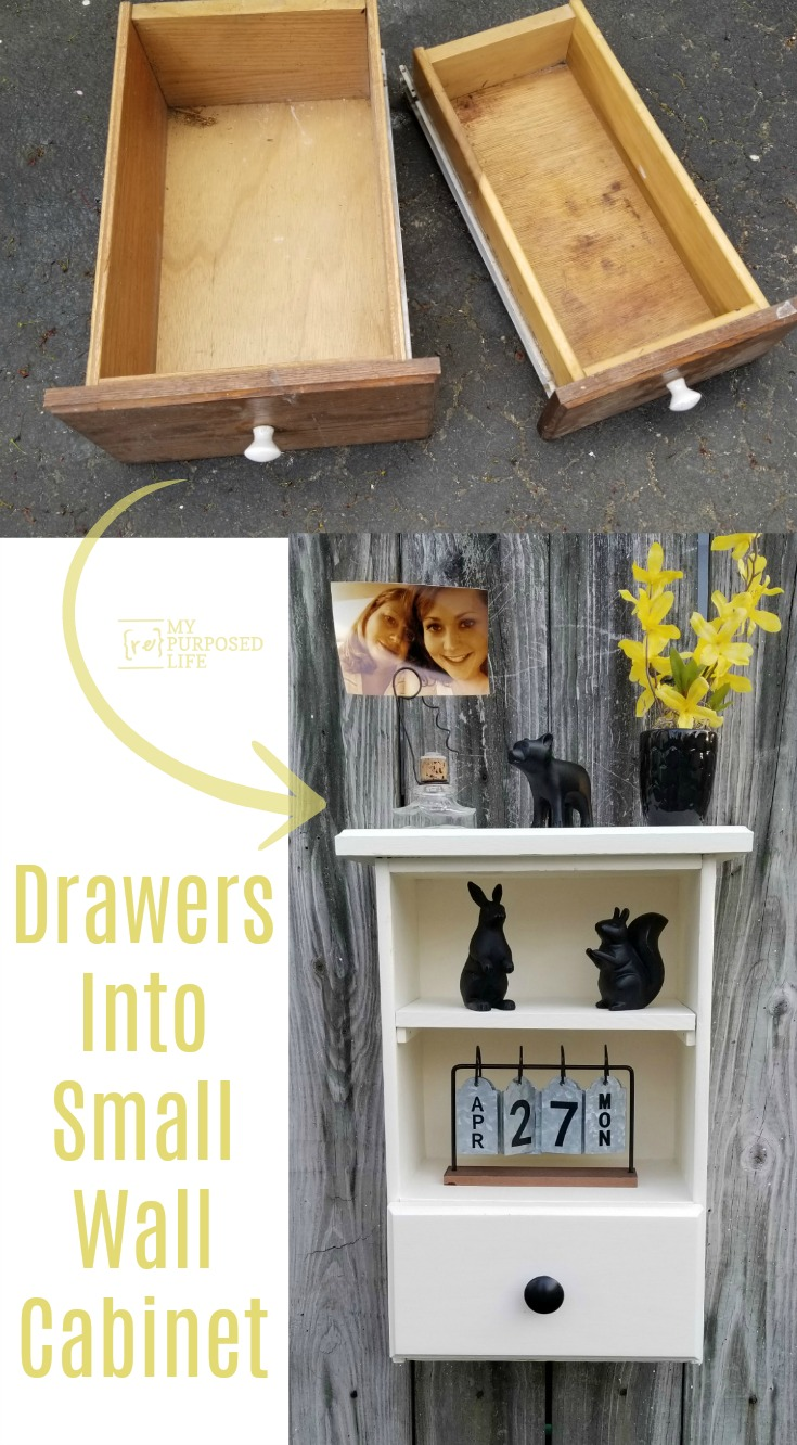 How to make a wall cabinet out of repurposed drawers. Use one drawer vertically, cut the other drawer down to size and voila! You have an awesome display cabinet with a drawer. Directions for you to make something similar! Repurpose those drawers you have hanging around. #MyRepurposedLife #repurposed #furniture #drawers #cabinet #homedecor via @repurposedlife