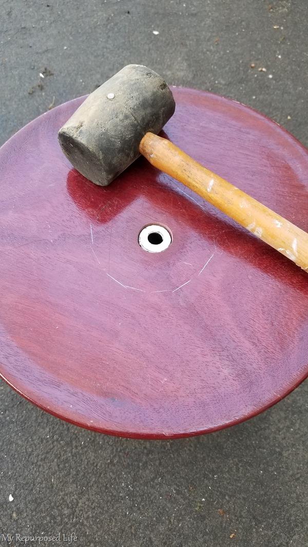 wodden mallet lamp base platter