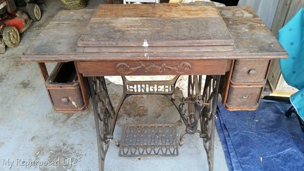 Repurposed Singer Sewing Machine, How To Refinish An Old Singer Sewing Machine Cabinet
