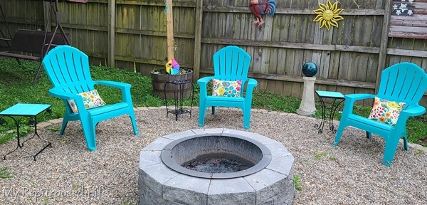 small metal side tables for fire pit area