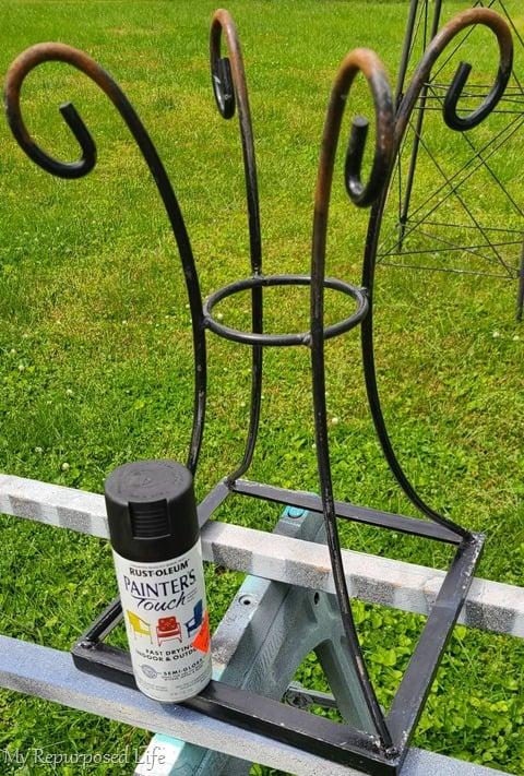 spray painting metal table base