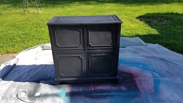 after a couple of quick coats of black diy chalk paint