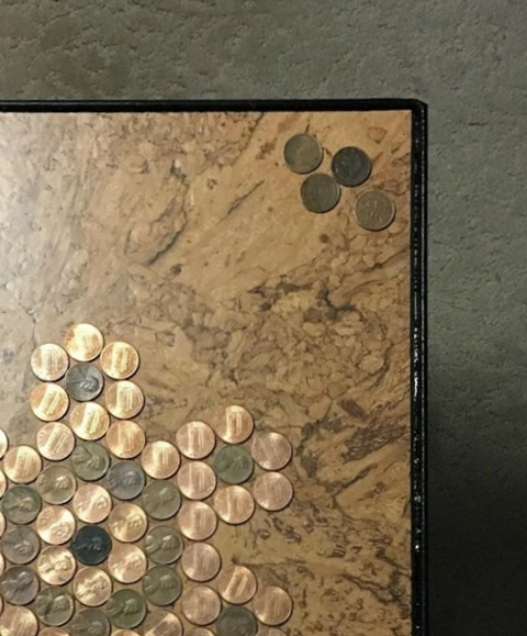 cork flooring base for penny table top