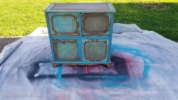 paint record radio cabinet black