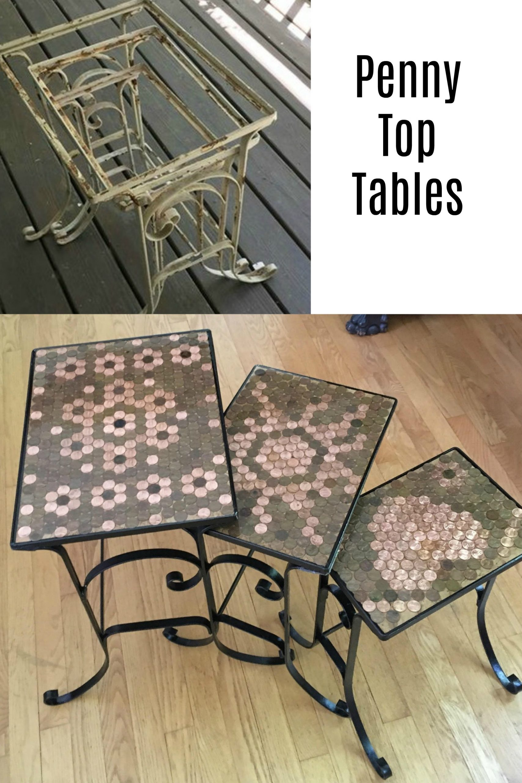 How to turn yard sale stacking metal tables into unique and fun penny top tables. Lots of tips so you can do this project. Maybe you already have the pennies? #repurposed #pennies #penny #table #project via @repurposedlife