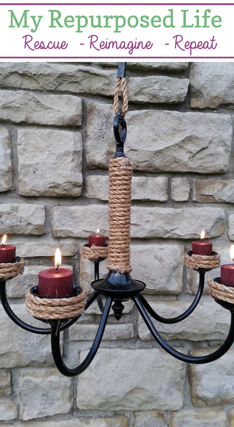 Using a thrift store chandelier, you can make this rope wrapped candelabra. Instead of candles, you could use solar lights. See more ideas for chandeliers while visiting this tutorial. #MyRepurposedLife #repurposed #chandelier #candelabra #outdoor #patio #lighting via @repurposedlife