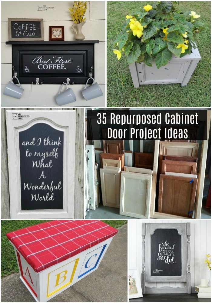 This collection of repurposed cabinet door project ideas is perfect for all skill levels. There's something for everyone, home decor, building and more. #repurposed #cabinetdoor #project #diy #MyRepurposedLife #homedecor #cupboard #door #kids #pets via @repurposedlife