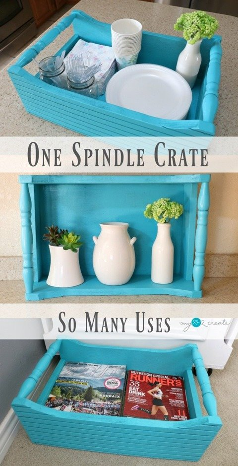 Build an easy and useful Spindle Crate with this easy to follow picture tutorial. What will you use your crate for? #MyLove2Create #MyRepurposedLife #diy #repurposed #spindle #crate via @repurposedlife