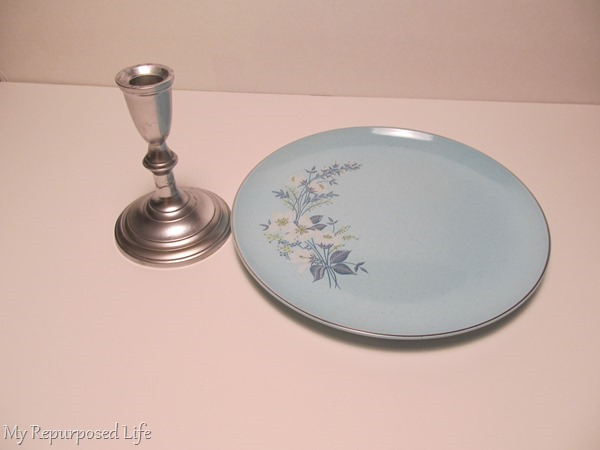 thrift store candlestick and plate