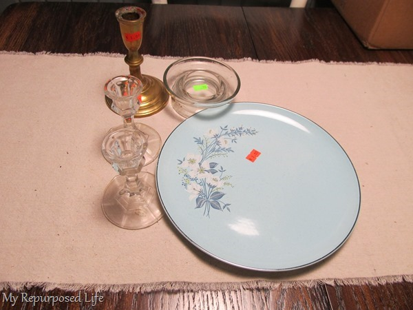 thrift store plate and candlesticks