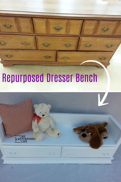 Use an old (cheap) dresser to repurpose into a bench with storage, perfect for the kids! Step by step directions included so you can do this project yourself. #MyRepurposedLife #repurposed #dresser #bench #kids #furniture via @repurposedlife
