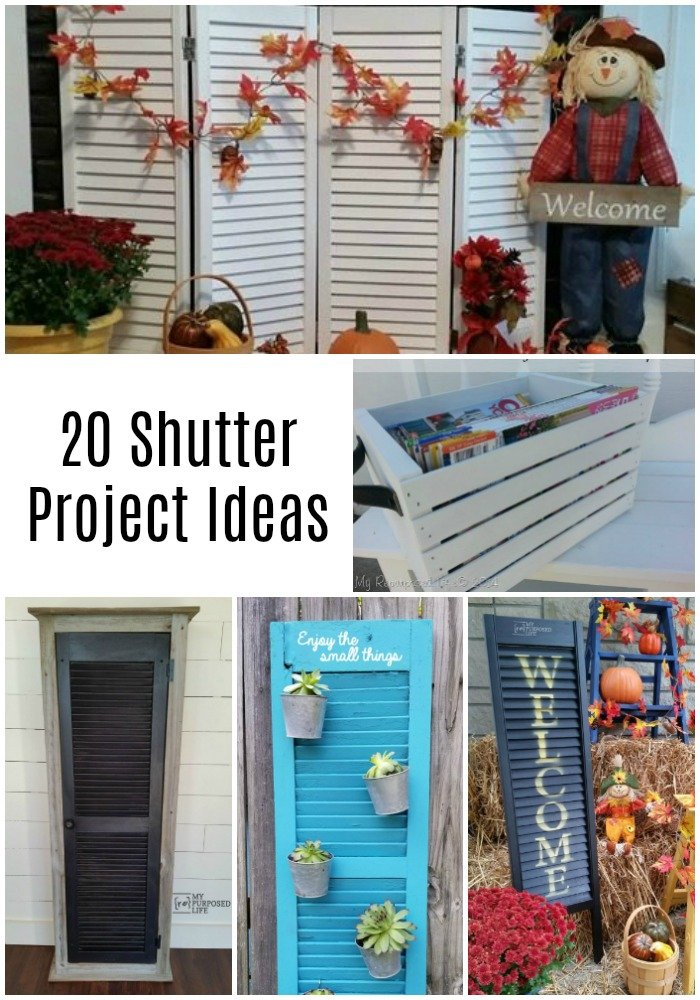 This collection of repurposed shutter projects will have you looking at louvered shutters and doors an all new way. There are so many ways to upcycle shutters inside and outside. There are projects using shutters and bi-fold doors. All projects with step by step directions. #MyRepurposedLife #repurposed #upcycled #shutters #bifold #door #diy #projects via @repurposedlife