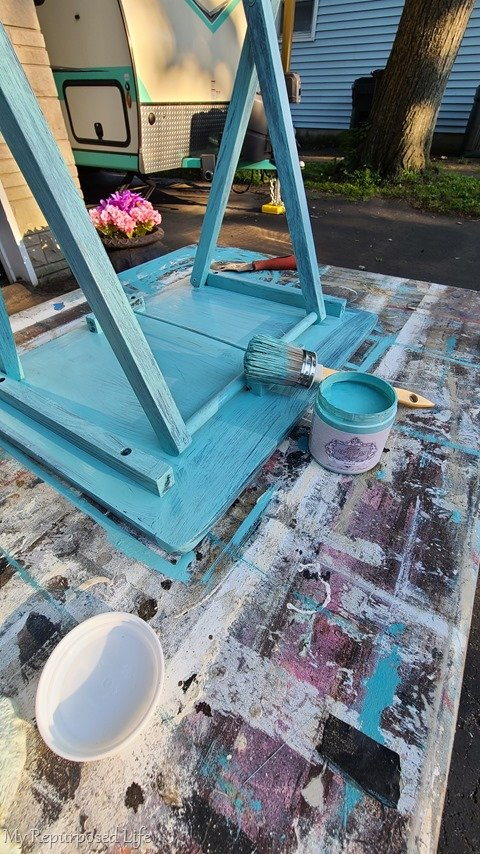 all in one paint first coat t.v. tray table makeover