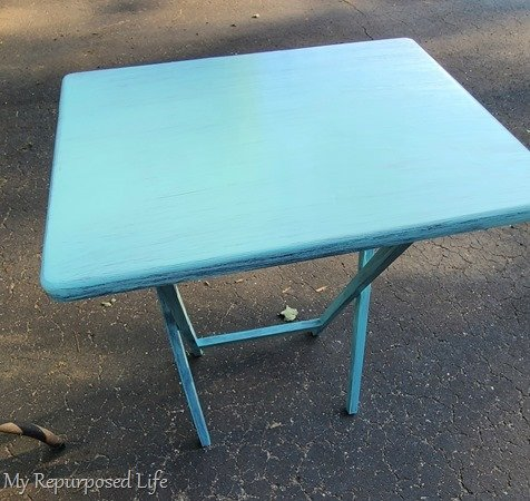 aqua blue tv tray table makeover resized
