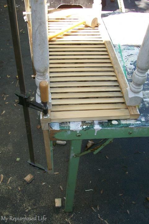 attach the back to shutter garden bench