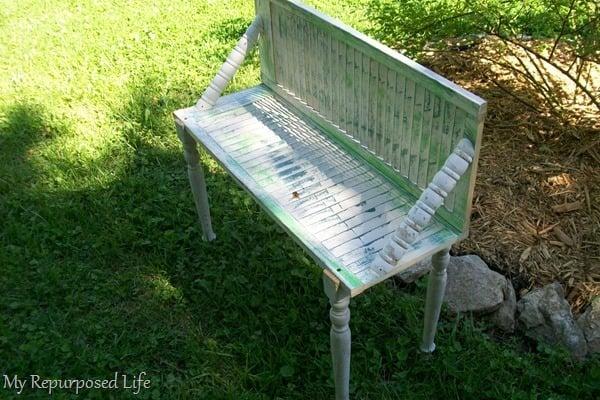 chippy shutter garden bench made from bi-fold doors