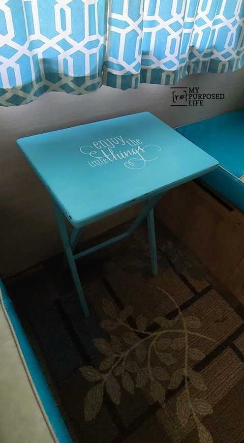 This quick and easy t.v. tray table makeover is a great way to update any old wooden furniture. Tips for painting, distressing & stenciling. #MyRepurposedLife #repurposed #tvtray #table #allinonepaint #chalkcouture #chalkpaste #transfer #enjoythelittlethings via @repurposedlife