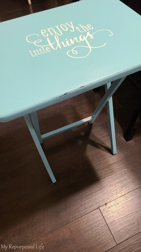 table with chalk couture transfer enjoy the little things
