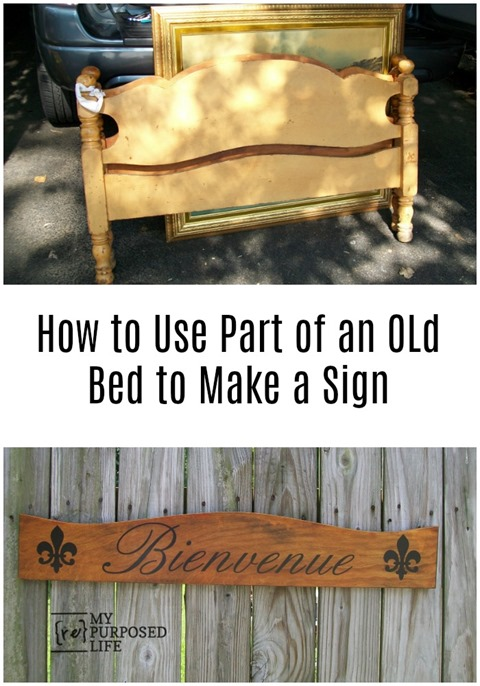 use part of an old bed to make a large sign MyRepurposedLife