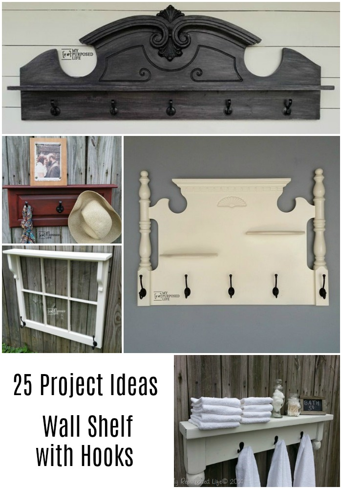 Are you looking for a great wall shelf with hooks that you can make yourself? This collection offers something for everyone. Great tutorials. Lots of DIY tips. #MyRepurposedLife #repurposed #wallshelf #hookrack #coatrack via @repurposedlife