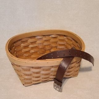thrift store basket | leather belt project