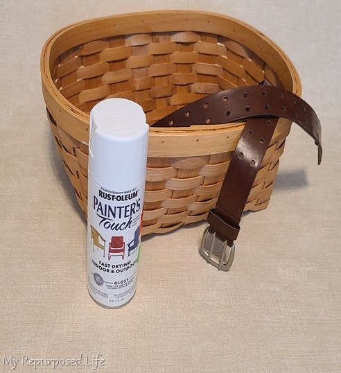 thrift store basket leather belt spray paint project