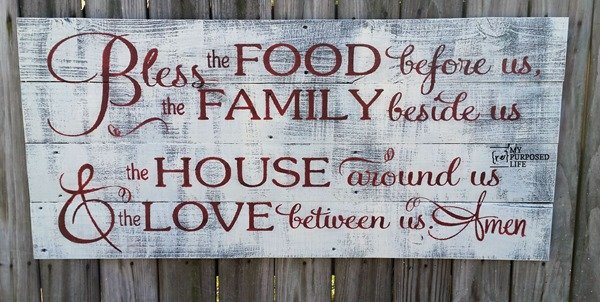 bless the food before us rustic stenciled sign MyRepurposedLife