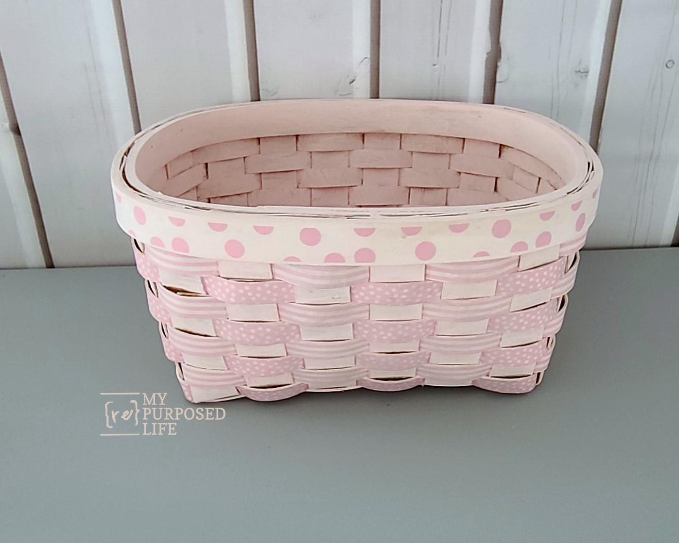 pink washi tape basket makeover