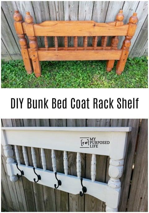 DIY Bunk Bed Coat Rack Shelf MyRepurposedLife