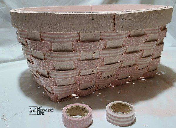 how to add pink washi tape to a basket MyRepurposedLife