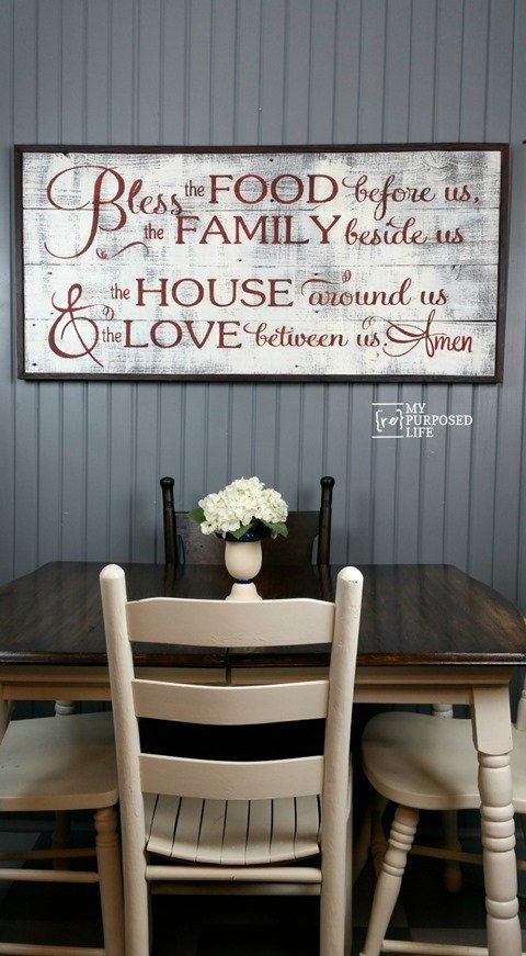 how to diy sign bless the food using reclaimed wood MyRepurposedLife