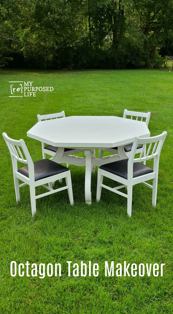 This dining table had been protected with a tablecloth or table pad for years. When it was removed, a lot of green fuzz was left behind. What will work to bring it back to life? Follow along as I tried a lot of products and techniques to remove all that green stuff! #MyRepurposedLife #octagon #dining #table #makeover #furniture #damaged via @repurposedlife