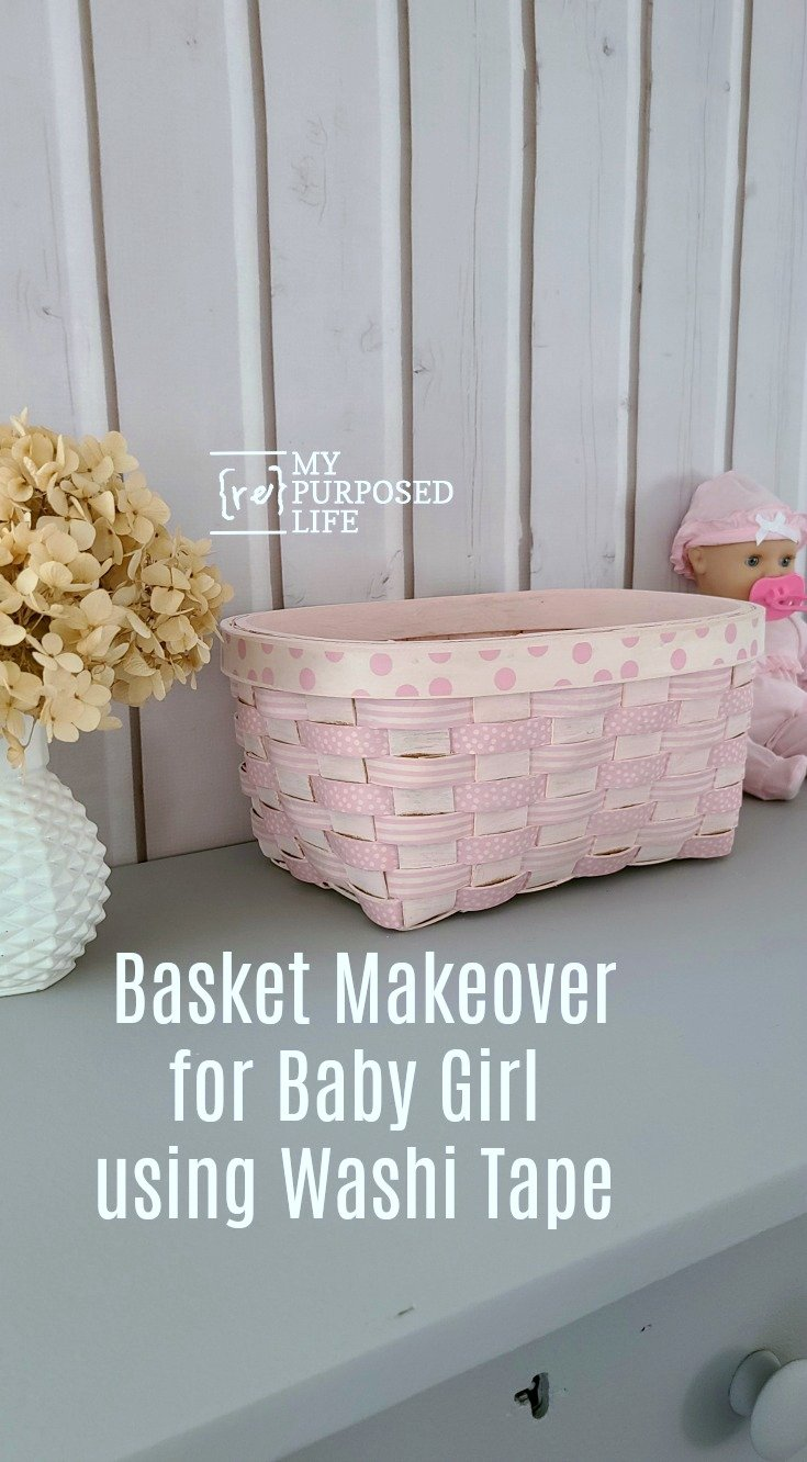 Make this cute washi tape basket out of a thrift store find and a collection of washi tape. I painted mine, but you could skip that step. This isn't nearly as time consuming as it may appear. #MyRepurposedLife #repurpose #thrift #basket #washi #babygirl via @repurposedlife