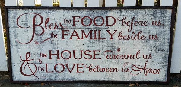 reclaimed fence rustic bless the food sign MyRepurposedLife