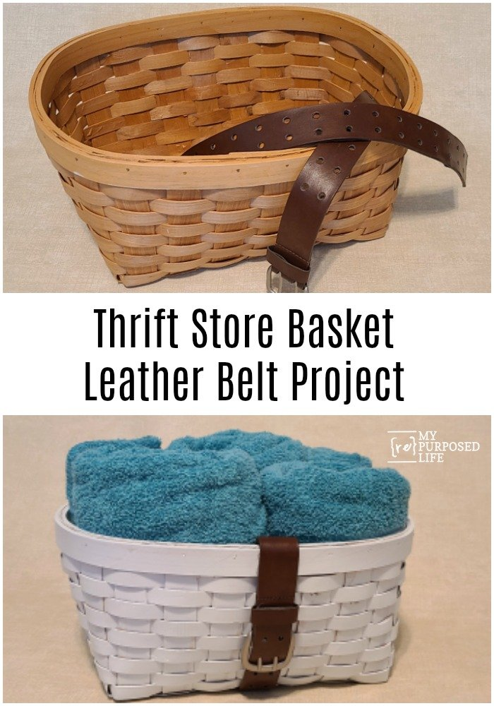 Combining a thrift store basket and a leather belt is the perfect way to make a cute basket to organize your items. Baskets - perfect for containing clutter! This basket can be used with a handle, or you can tuck the handle away when not needed. #MyRepurposedLife #repurposed #thriftstoredecor #thrifted #basket #leather #belt #organization via @repurposedlife