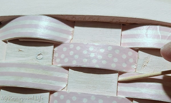 tuck in washi tape with a toothpick