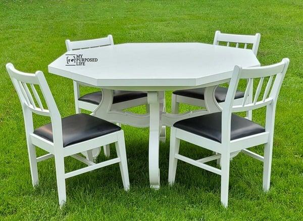 vintage octagon dining table makeover MyRepurposedLife