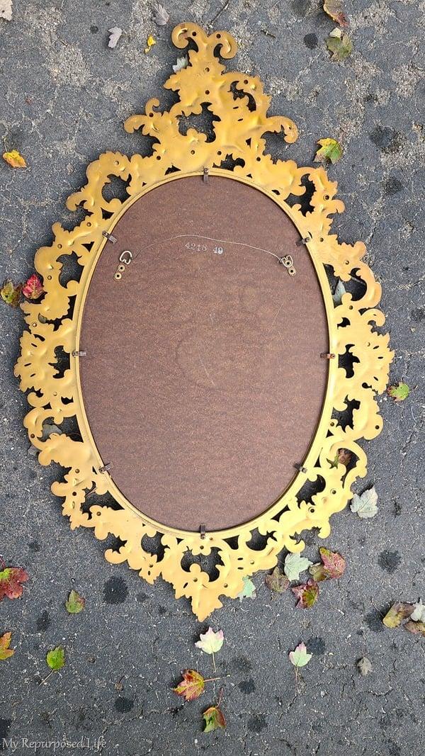 back of baroque mirror