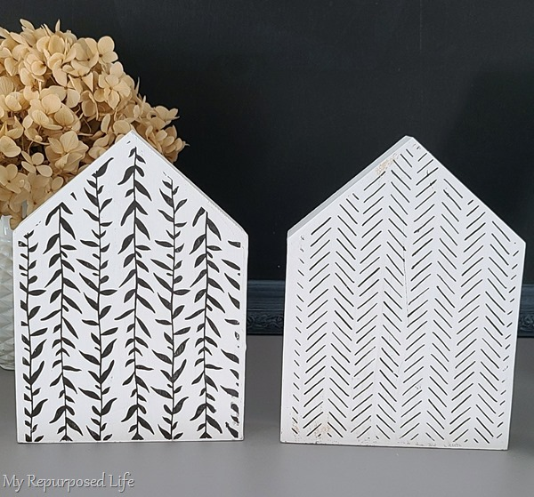 decorative wooden houses with patterns