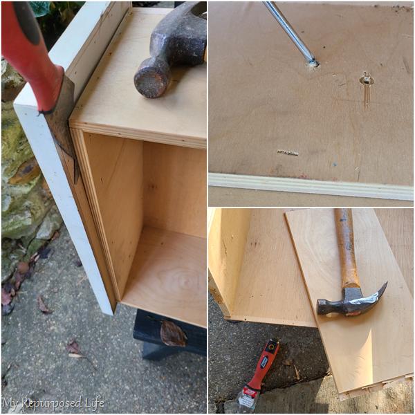 dismantle vintage drawer to harvest wood