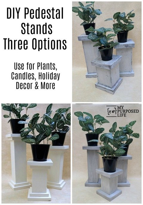 How to make three different versions of chunky pedestals for plants, candles holiday decor and more. Complete instructions to DIY it! Three versions, three paint techniques. You decide which you like best and hit up your scrap wood pile! #MyRepurposedLife #repurposed #reclaimed #pedestal #plantstand #candleholder #homedecor #holiday #decor via @repurposedlife