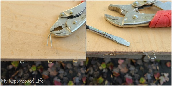 removing staples from drawer pieces
