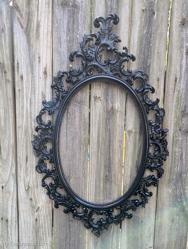 spray painted baroque mirror frame