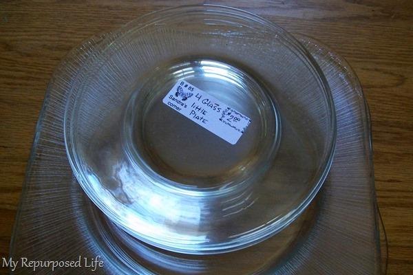 thrift store plates to make glass dessert plate